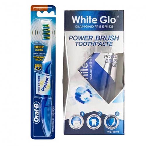 White Glo - Oral-B Titreşimli Diş Fırçası Pro-Expert Pulsar 35 Yumuşak - White Glo Power Brush Toothpaste 65ml