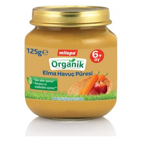 Nutricia - Milupa Organik Elmalı ve Havuç Püresi 125 gr | 6 ay ve üzeri