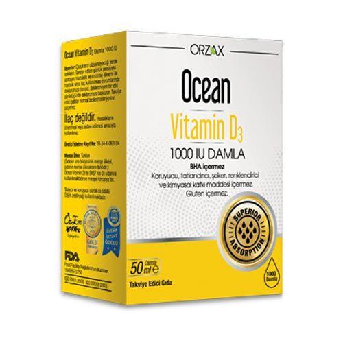 Orzax Ocean Vitamin D3 1000 Iu Damla 50 Ml Dermoeczanem Com