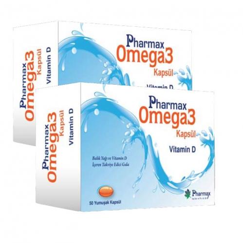 Pharmax - Pharmax Omega3+Vitamin D 50 Kapsül x 2