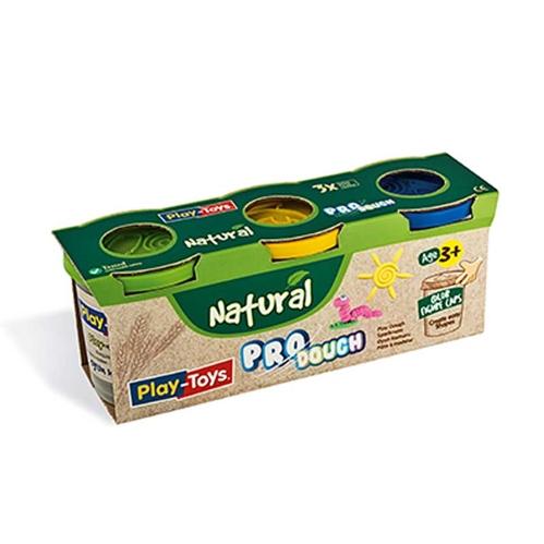 Playtoys - Playtoys Pro Dough Natural 3x100 gr.
