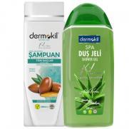 Dermokil - Dermokil Argan Yağlı Şampuan 400 ml + Aloe Vera Duş Jeli 500 ml