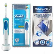 White Glo - Oral-b Vitality 3d White Şarj Edilebilir Diş Fırçası - White Glo Power Brush Toothpaste 65ml