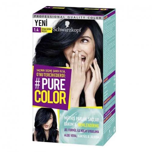 Schwarzkopf - Schwarzkopf Pure Color Saç Boyası 1.4 Siyah Üzüm Reçeli