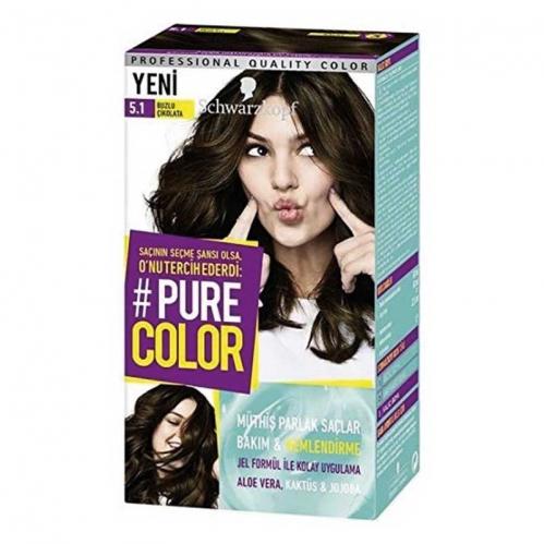Schwarzkopf - Schwarzkopf Pure Color Saç Boyası 5.1 Buzlu Çikolata