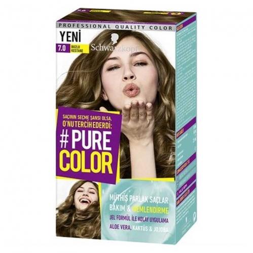 Schwarzkopf - Schwarzkopf Pure Color Saç Boyası 7.0 Buzlu Kestane