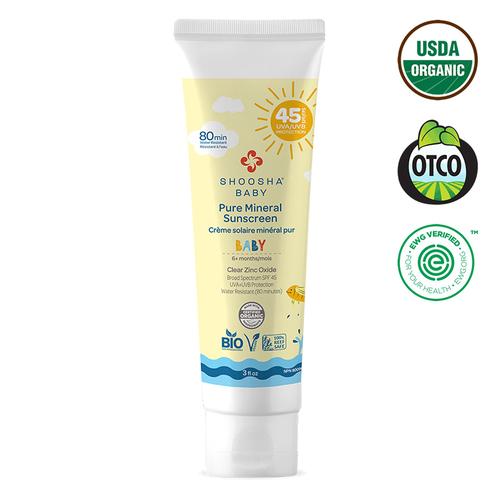 Shoosha - Shoosha Organik Bebek İçin Mineral Güneş Kremi SPF 45 90 ml
