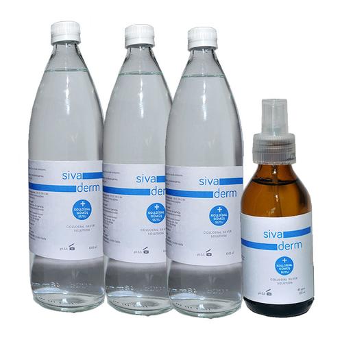 Siva Derm - Siva Derm Kolloidal Gümüş Suyu 3x1lt | Nemlendirici Solüsyon 100 ml HEDİYE
