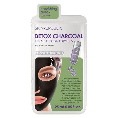 Skin Republic - Skin Republic Detox Charcoal + 10-Superfood Formula Face Mask Sheet 25 ml