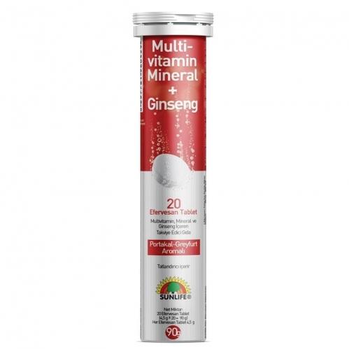 Sunlife - Sunlife Multivitamin & Mineral + Ginseng Efervesan 20 Tablet