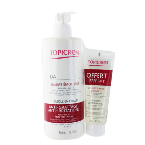 Topicrem - Topicrem DA Face - Body Emollient Balm 500 ml | Ultra Rich Cleansing Jel 75 ml Hediyeli