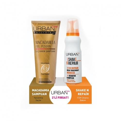 Urban Care - Urban Care Macadamia Yağı ve Keratin içeren Şampuan ve Durulanmayan Bakım Köpüğü 250 ml + 150 ml
