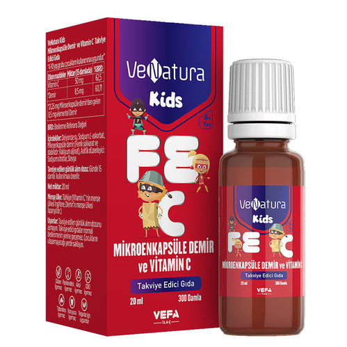 VeNatura - VeNatura Kids Mikroenkapsüle Demir ve Vitamin C Takviye Edici Gıda 20 ml