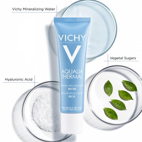 Vichy Aqualia Thermal Rehydrating Cream Rich 30 ml Temizleme Jeli 2x15ml HEDİYE