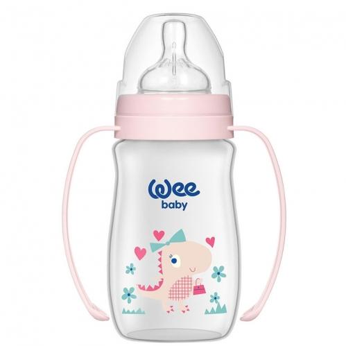 Wee Baby - Wee Baby Klasik Plus Geniş Ağızlı Kulplu PP Biberon 250 ml