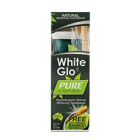 White Glo - White Glo Pure Saf & Doğal Diş Macunu 85ml + %100 Doğal Bambu Diş Fırçası HEDİYE